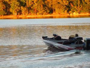 As the sun is setting on Lake Wateree
